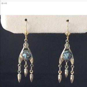 Jewelry - Sterling &14K turquoise earrings